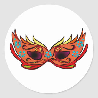 Carnival mask round stickers
