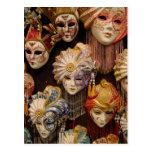 Carnival Masks in Venice Postcards