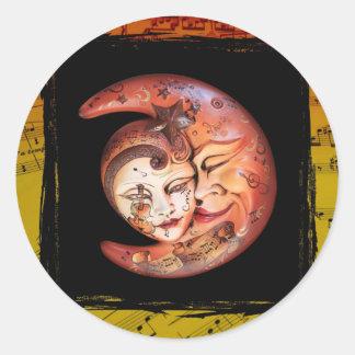 Carnival Masks & Music Round Sticker