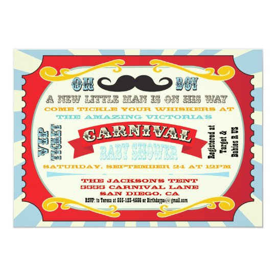 Carnival Moustache Baby shower Invitation