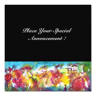 CARNIVAL NIGHT, Mardi Gras Masqureade ,Dance,Music 13 Cm X 13 Cm Square Invitation Card