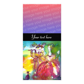 CARNIVAL NIGHT  pink red blue yellow black Personalized Photo Card