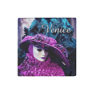 Carnival of Venice, Italy - Lady In Purple Stone Magnet