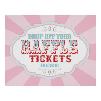 Carnival or Circus Raffle Ticket Booth Sign Print