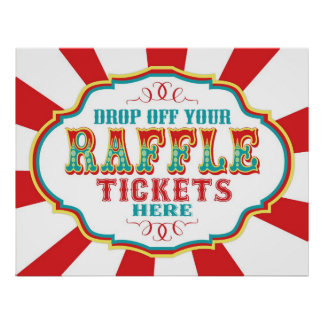 Carnival or Circus Raffle Ticket Sign Print