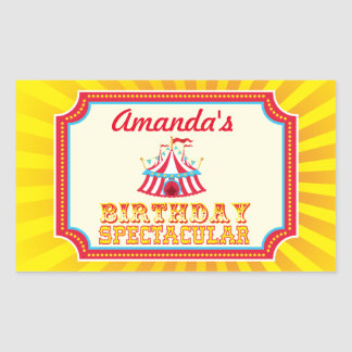 Carnival or Circus stickers with custom text