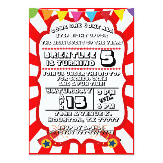 Carnival Party Invitation, Circus Invitation