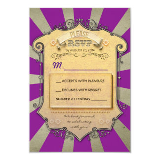 carnival purple wedding RSVP Card