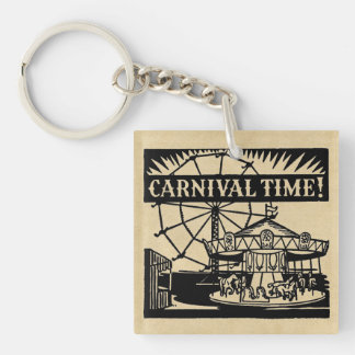 Carnival Time Double-Sided Square Acrylic Key Ring