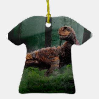 Carnotaurus Dinosaur Cretaceous Period Grass Trees Double-Sided T-Shirt Ceramic Christmas Ornament