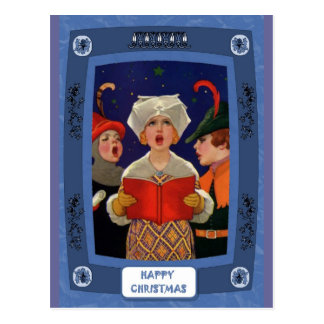 Carol singing - Silent night traditional Xmas card