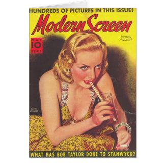Carole Lombard & Soda Magazine Cover Card