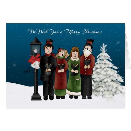 Carolers Winter Scene Greeting Cards