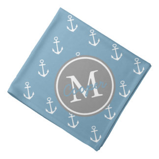 Carolina Blue and Dove Grey Anchor Monogram Bandana