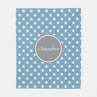 Carolina Blue and Dove Grey Stars Monogram Fleece Blanket