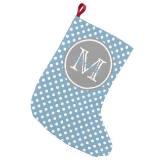 Carolina Blue and Grey Polka Dot Monogram Small Christmas Stocking