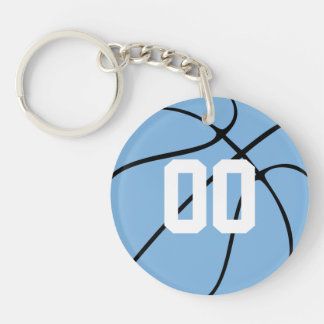 Carolina Blue Custom Basketball Keychain