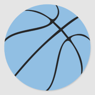 Carolina Blue Light Blue Custom Basketball Round Sticker