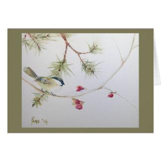 Carolina Chickadee--December 2014.  Holiday card. Card