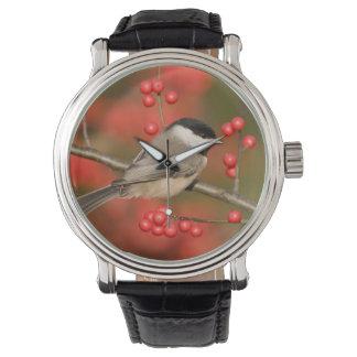 Carolina Chickadee on Common Winterberry bush Wristwatch