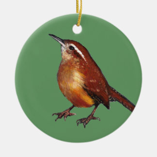 Carolina Wren in Oil Pastel: Bird, Wildlife Art Christmas Ornament