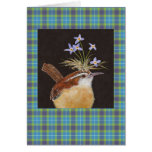 Carolina wren with bluets on plaid card