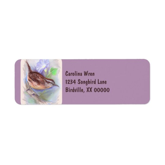 Carolina Wren with Morning Glory Flowers Return Address Label