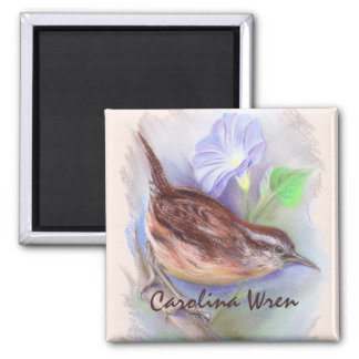 Carolina Wren with Morning Glory Flowers Square Magnet