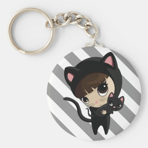Caroline and Candy the Cats Basic Round Button Key Ring