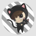 Caroline and Candy the Cats with Stripes Round Sticker