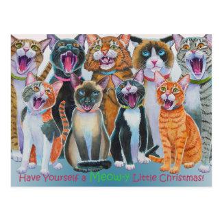 Caroling Cats Postcard