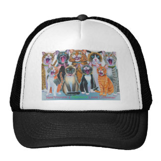 Caroling Cats with Christmas Greeting Cap