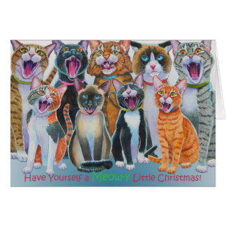 Caroling Cats without inside message Greeting Card