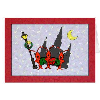 Caroling Crawfish / Lobster Cathedral Christmas Greeting Card