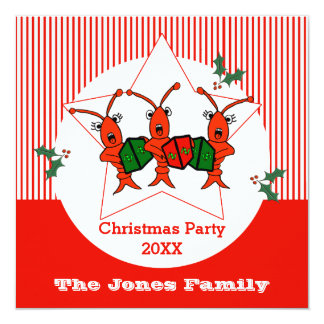 Caroling Crawfish / Lobsters Christmas Party Card