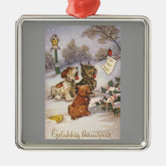 Caroling Dogs in the Snow Christmas Ornament