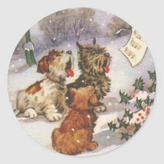Caroling Dogs in the Snow Classic Round Sticker