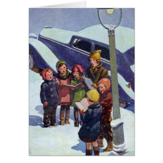 Caroling in the snow greeting card