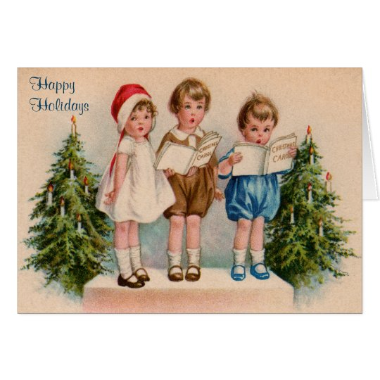 Caroling Kids Happy Holidays Cards