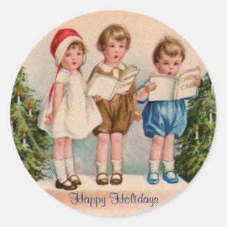Caroling Kids Happy Holidays Stickers