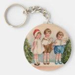 Caroling Kids Merry Christmas Keychain