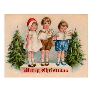 Caroling Kids Victorian Vintage Postcard