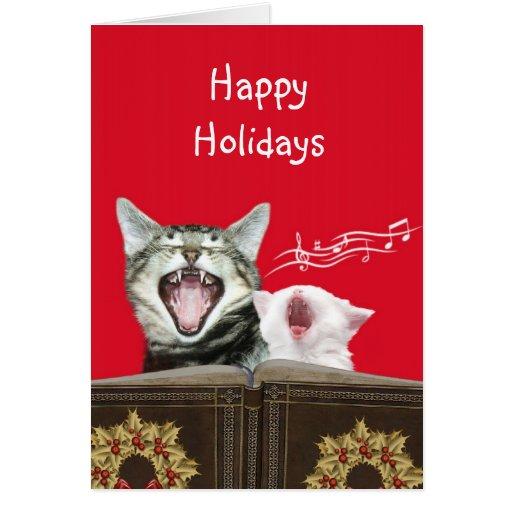 Caroling kitties greeting card