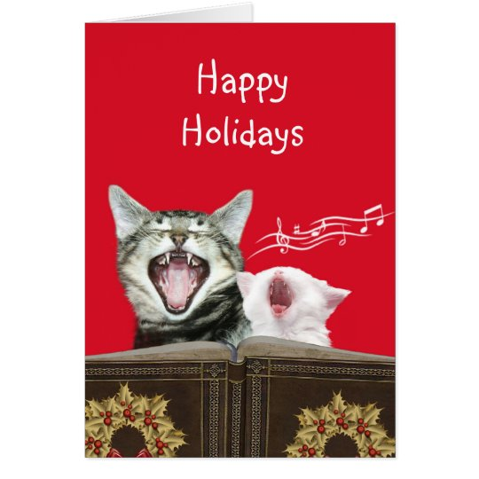 Caroling kitties greeting card