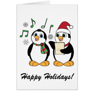 Caroling Penguins in the Snow Card