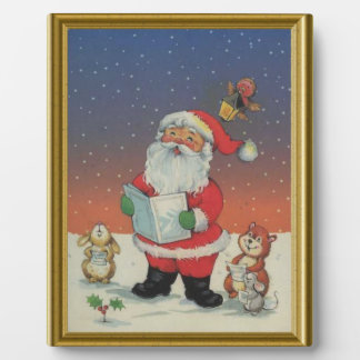 Carolling Santa in the forest Plaque