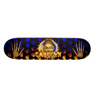 Carolyn skull real fire and flames skateboard desi