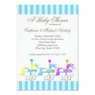 Carousel Baby Shower 13 Cm X 18 Cm Invitation Card