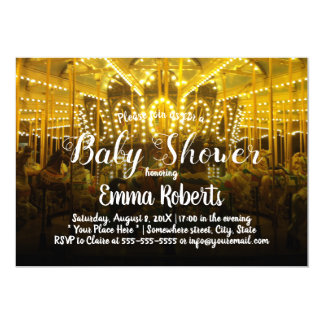 Carousel Baby Shower Merry Go Round Card