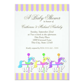 Carousel Baby Shower Purple Gold 13 Cm X 18 Cm Invitation Card